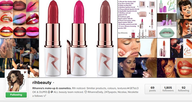 Follow RihBeauty on Instagram