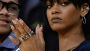 rihanna gold tips and spikes manicure