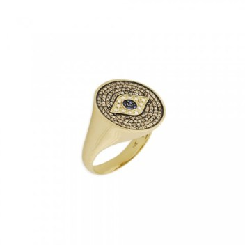 Sydney Evan evil eye medallion ring