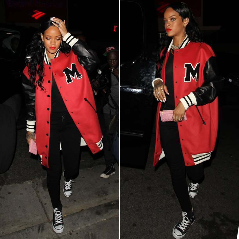 Rihanna at 1Oak nightclub in LA wearing Moschino pre-Fall 2014 red varsity jacket, Citizens of Humanity avedon jeans and Converse high top sneakers