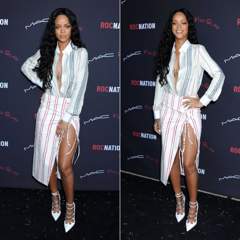 Rihanna at Roc Nation Pre-Grammy brunch 2014 wearing Altuzarra Spring/Summer 2014 striped shirt and striped slit skirt, Manolo Blahnik ankle strap sandals