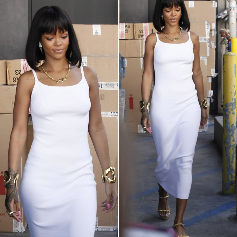 Rihanna wearing Christian Louboutin Cataclou studded espadrille sandals, Melody Ehsani arabic nameplate necklace and ice cream cone earrings