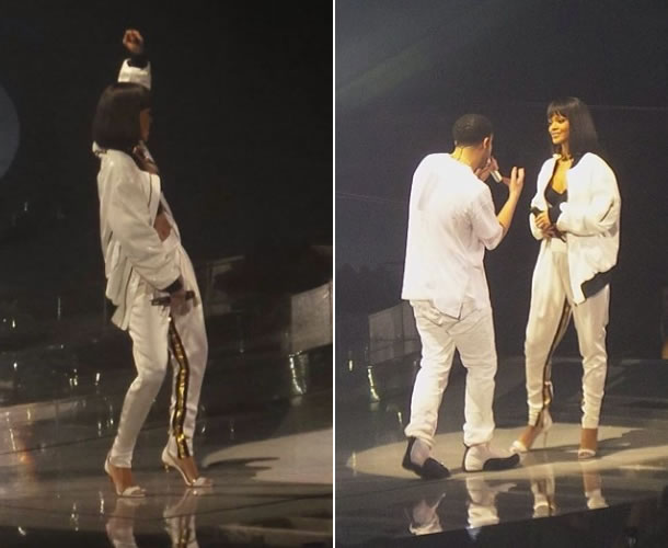 Rihanna performed with Drake in Paris wearing Alexandre Vauthier Spring Summer 2014 white jacket, striped pants and sandals