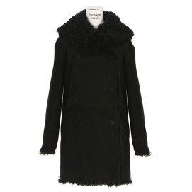 Azzedine Alaia black shearling coat