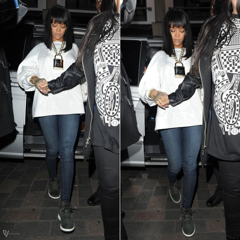 Rihanna wearing Anne Sofie Madsen Ninja Storm white leather top, Hudson Nico skinny jeans, Air Jordan Nouveau Sequioa sneakers, Eddie Borgo Aerator cone ring, Chanel padlock necklace, Chanel embroidered flap bag