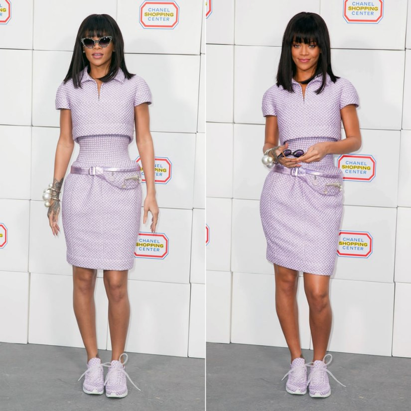 Rihanna at Chanel Fall Winter 2014 fashion show wearing Chanel Spring 2014 couture lilac top, skirt, fanny pack, sneakers and pearl bracelets with Cutler and Gross Cubist cat-eye sunglasses