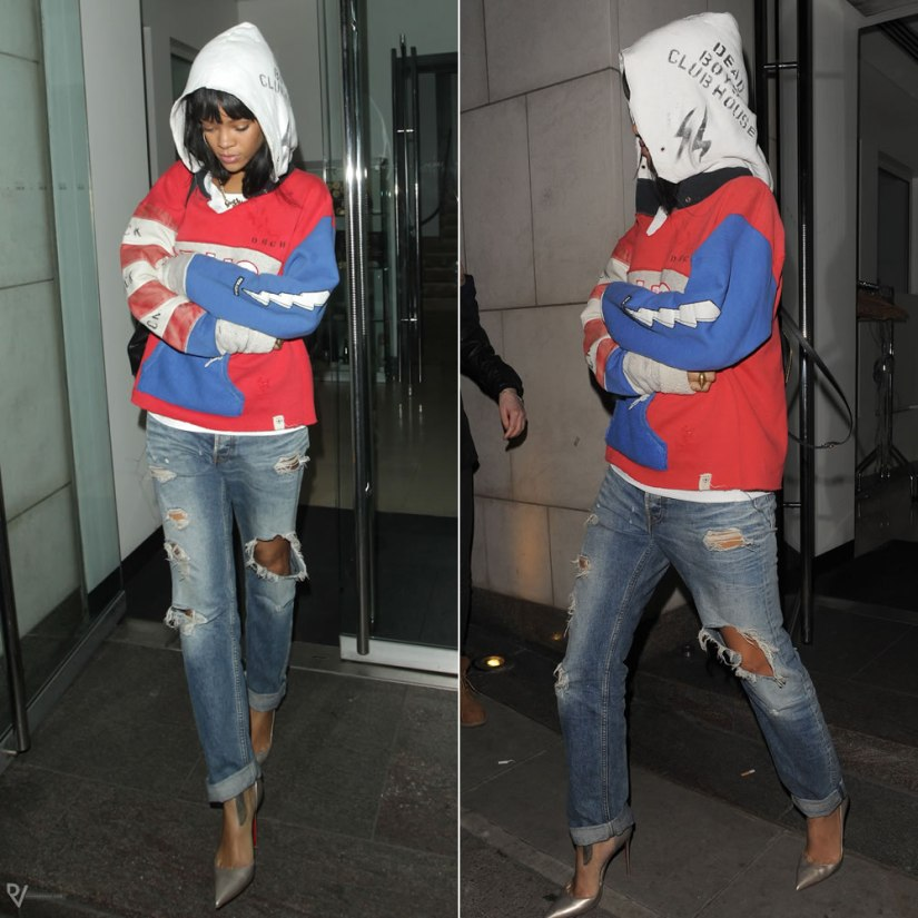Rihanna wearing Raif Adelberg Deadboys Clubhouse Drugs hoodie, Acne Generic Girl ripped jeans, Christian Louboutin Iriza pumps