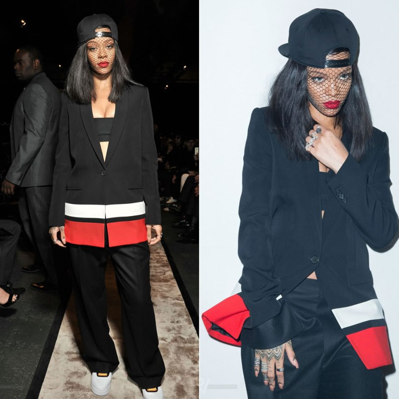 Rihanna wearing Givenchy pre-fall 2014 black, white and red jacket, pants, hat and veil, Riccardo Tisci for Nike Air Force 1 white low sneakers, Elise Dray rose ring