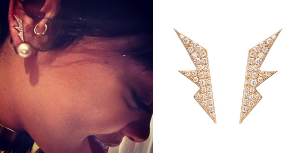 Rihanna wearing Jennifer Fisher Jewelry diamond shard earrings