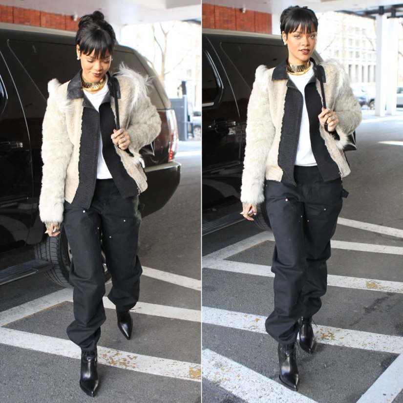 Rihanna wearing Lanvin lamb fur jacket, Carhartt double front dungarees, Stella McCartney backpack, Eddie Borgo Aerator cone ring, Annelise Michelson Carnivore choker