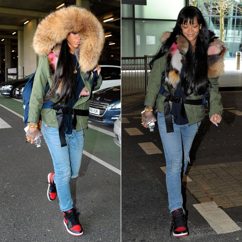 Rihanna wearing Adam Selman oversized stars backpack, Balmain Homme ripped jeans, Air Jordan 1 mid sneakers, Mr and Mrs Furs multicolored fur lined parka, Eddie Borgo Aerator cone ring, Eddie Borgo Spire Line bracelet, Christian Dior logo rings