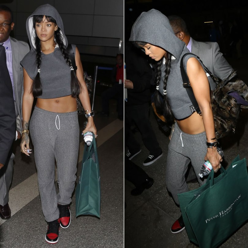 Rihanna wearing Reebox by Alicia Keys cropped sleeveless hoodie, Mulberry Cara Delevingne camo backpack, Air Jordan 1 Retro sneakers, Eddie Borgo bracelet, Jennifer Fisher Momma cuff