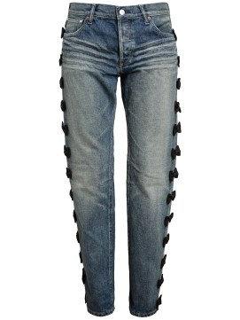 Tu Es Mon Tresor embroidered bow jeans