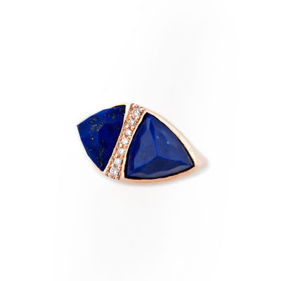 Jacquie Aiche Lapis gemstone and pavé diamond double pyramind ring