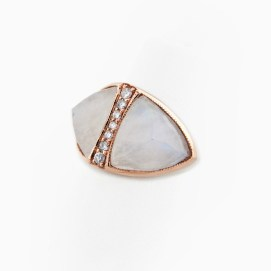 Jacquie Aiche Moonstone gemstone and pavé diamond double pyramind ring
