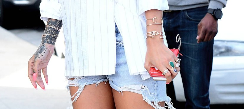 Rihanna wearing Jacquie Aiche rings and bracelets