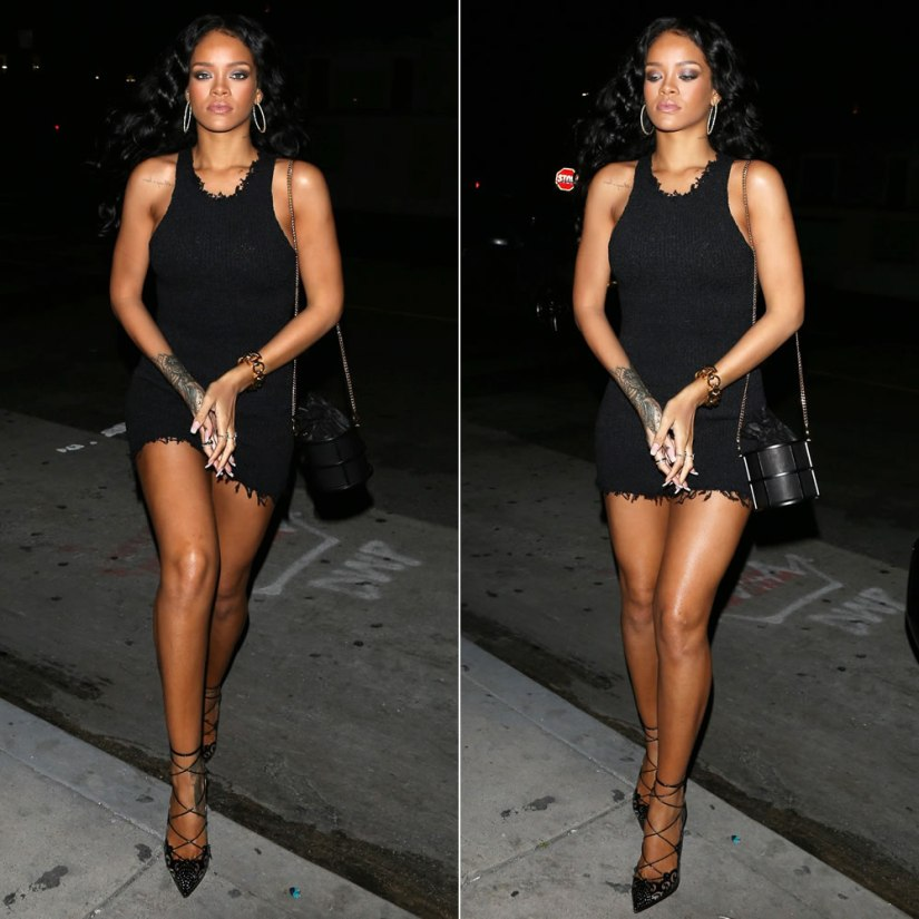 Rihanna carrying Janvier Venus in Furs black leather cage bag and wearing Christian Louboutin black Impera pumps
