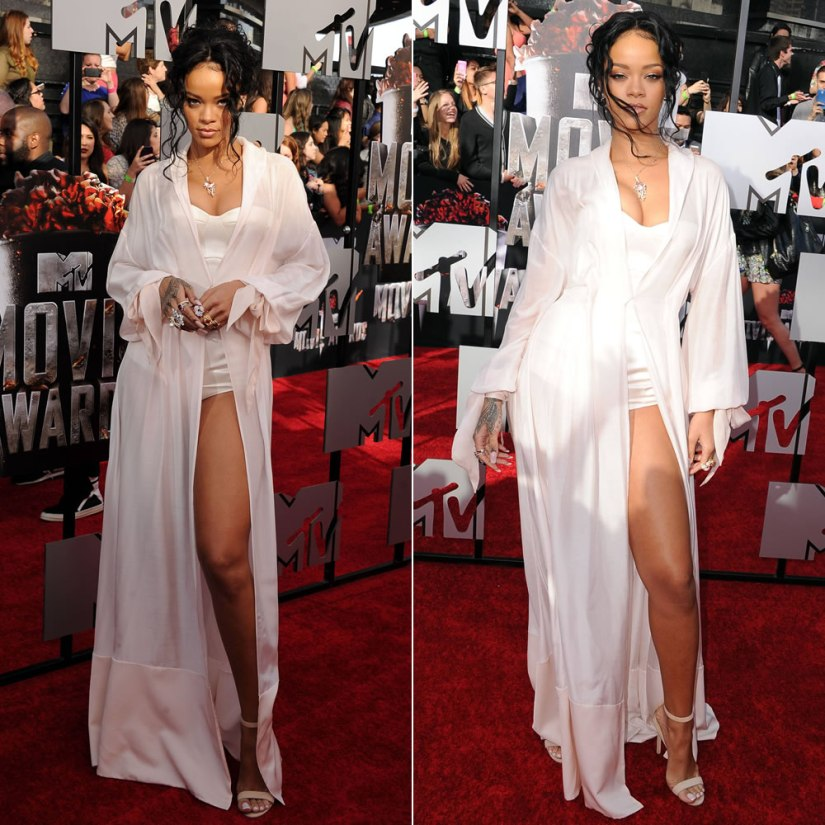 Rihanna wearing Ulyana Sergeenko Spring 2014 couture bustier bodysuit and sheer robe dress with Manolo Blahnik suede Chaos sandals at the 2014 MTV Movie Awards
