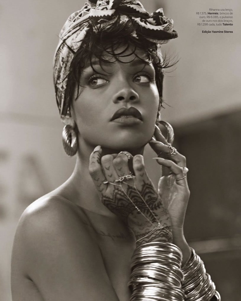 Rihanna in Vogue Brazil May 2014 wearing Hermes scarf, Jacquie Aiche finger bracelets and rings, Talento earrings and bangles