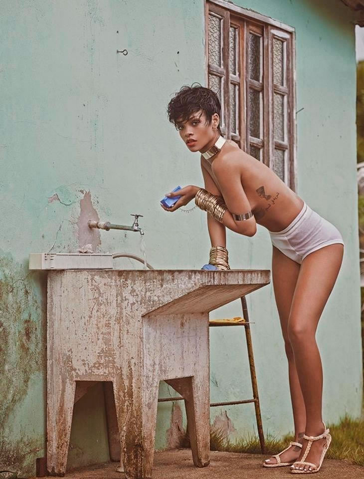 Rihanna in Vogue Brazil May 2014 wearing A la Garconne briefs and Schutz sandals