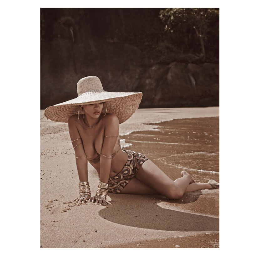 Rihanna in Vogue Brazil May 2014 Otavio Giora hat, Wagner Kallieno printed shorts