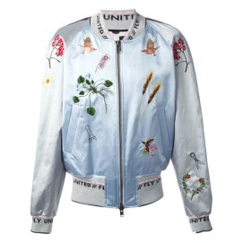 Bernhard Willhelm embroidered Fly United bomber jacket