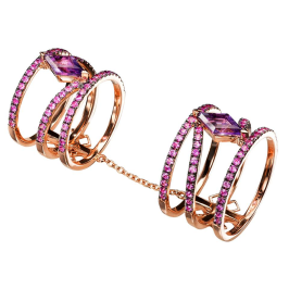 Dionea Orcini Linee Misteriose double cage ring with pink sapphires and amethysts