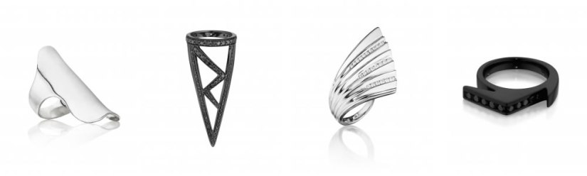Lynn Ban armor ring, triangular ring, fintail ring and jagged ring