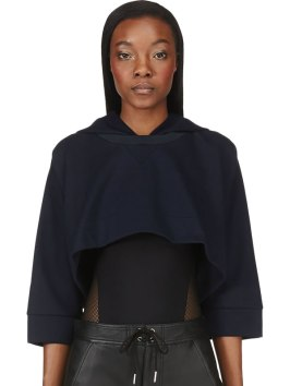 MM6 Maison Martin Margiela navy dolman cropped hoodie