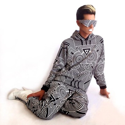 Sammy of The Kids wearing Plastic Tokyo geometric print hoodie and sweatpants