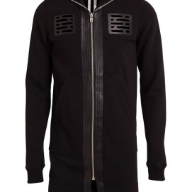 Rick Owens leather detail cotton hoodie