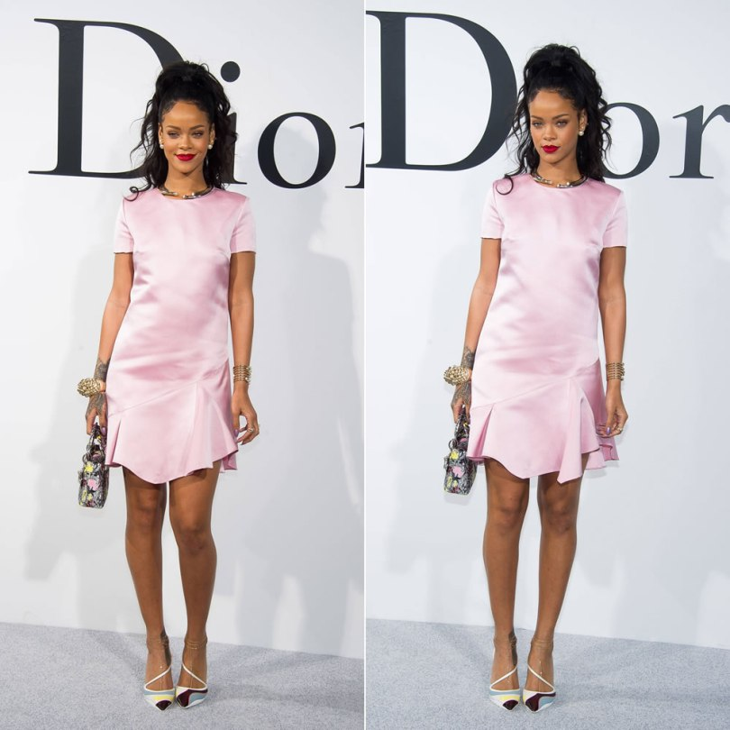 Rihanna at Dior Resort 2015 fashion show wearing a pink Dior dress, Dior Resort 2014 shoes, a Lady Dior Micro handbag, Mise en Dior tribal earrings, Diorific choker necklace, Diorific cuff bracelet