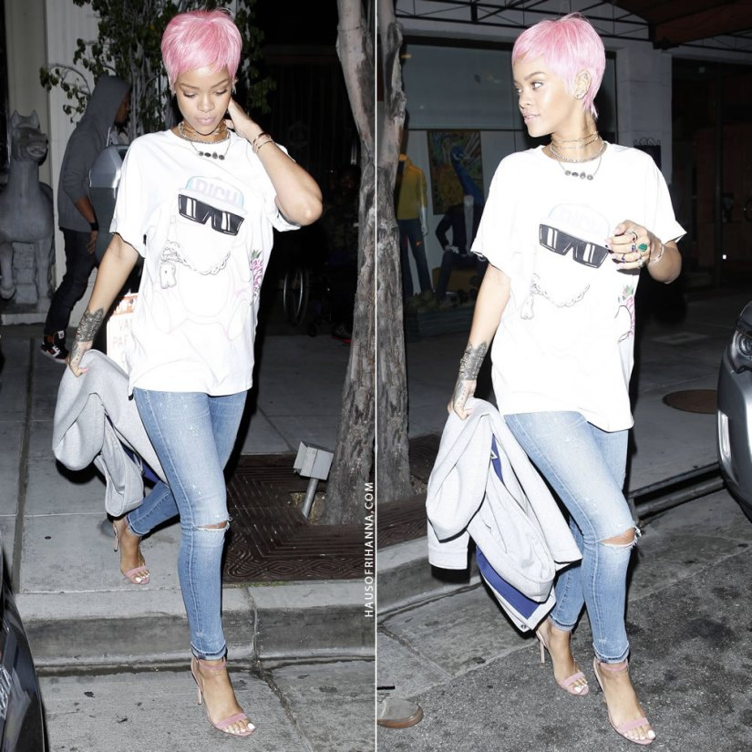Rihanna wearing Joyrich Ghetto Pink Bear t-shirt, Citizens of Humanity Racer skinny jeans in Crosby, Manolo Blahnik Chaos pink suede sandals, Melody Ehsani barbed wire choker, Jacquie Aiche anklets