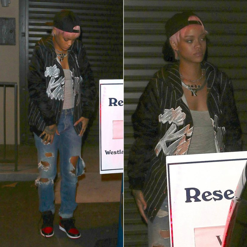 Rihanna wearing Joyrich The King Rich hoodie jacket and Acne Generic Girl distressed jeans
