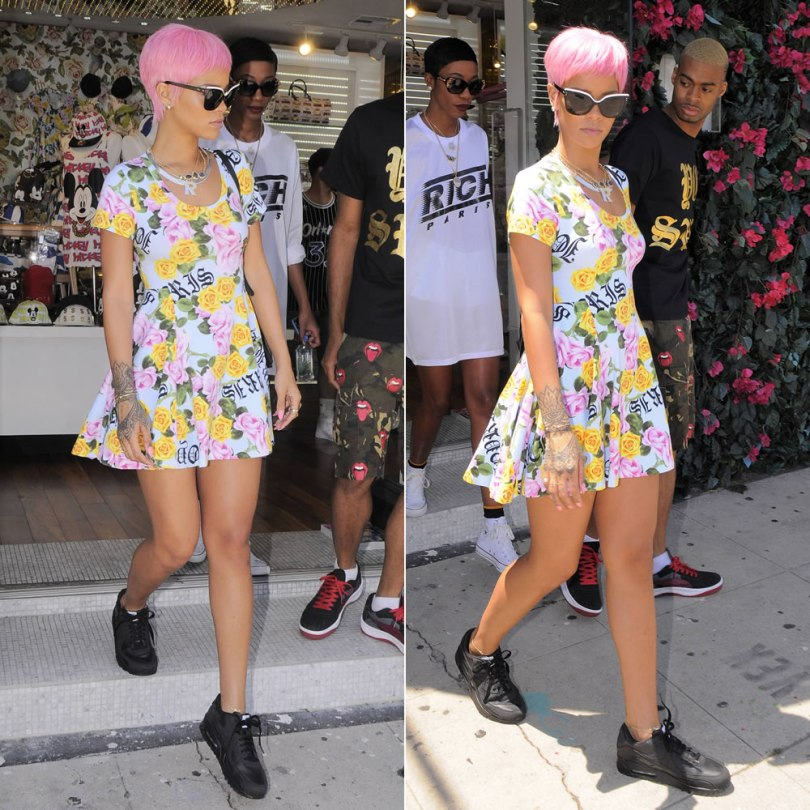 Rihanna in Los Angeles wearing Joyrich Memorial Garden floral skater dress, Nike Air Max 90 black sneakers, Dior black and white Exquise sunglasses, Stella McCartney Beckett backpack, Jacquie Aiche gemstone rings and necklace and bunny ring, Fallon herringbone necklace