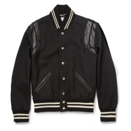 Saint Laurent leather-trimmed wool twill varsity jacket
