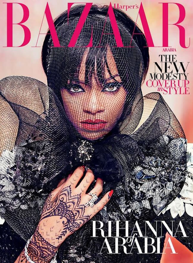 Rihanna on the cover of Harper's Bazaar Arabia July 2014 issue
