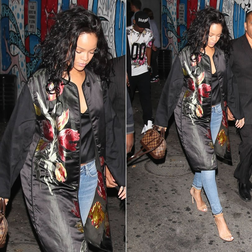 Rihanna wearing Dries Van Notel Spring 2014 floral jacquard coat, Citizens of Humanity Racer skinny jeans in Crosby, Manolo Blahnik Chaos ankle-strap suede sandals, Louis Vuitton Alma BB bag in Damier Ebene