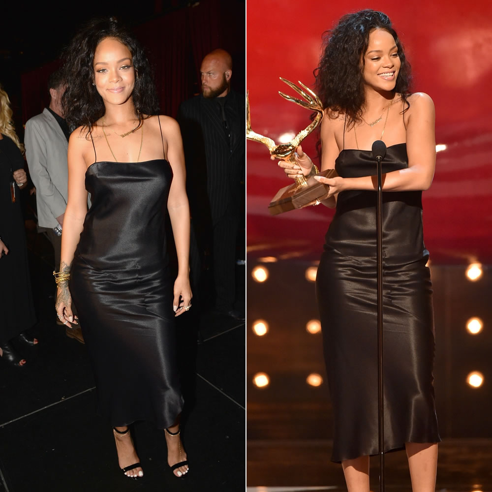 "2c4722a10dd Rihanna attended the 2014 Guys  Choice Awards in Los Angeles last night  where she accepted the first-ever ""Most Desirable Woman"" award."