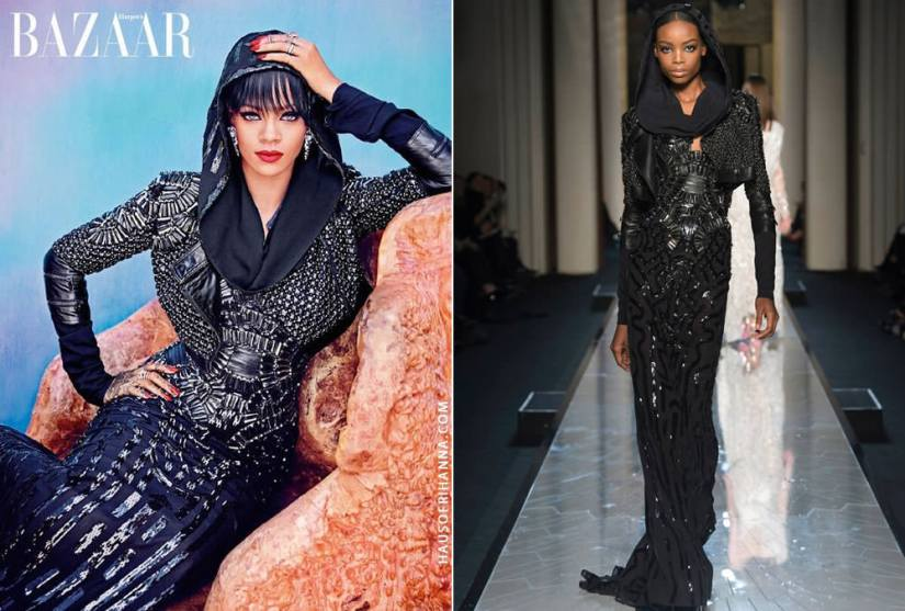 Rihanna wearing Atelier Versace Spring 2014 black embellished hooded dress and leather jacket