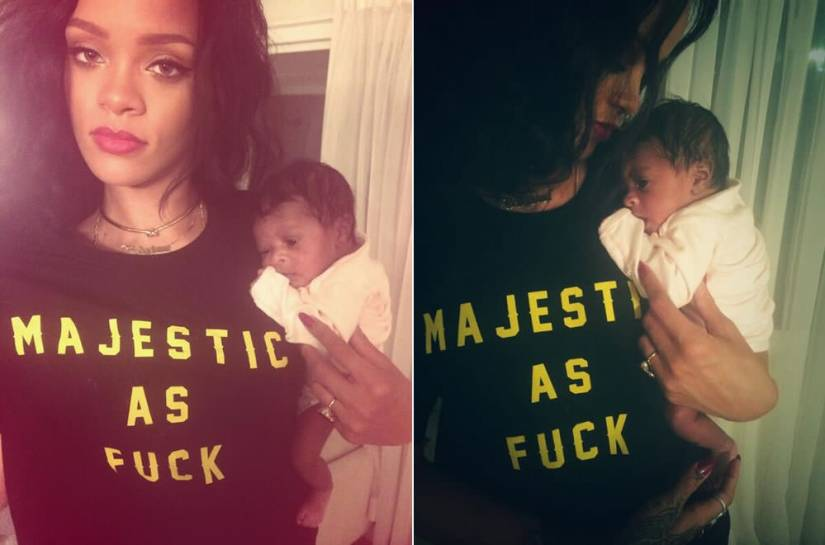 Rihanna in Ktag NYC's Majestic As Fuck t-shirt, Jennifer Fisher knot choker, Mala by Patty Rodriguez Where you? from necklace