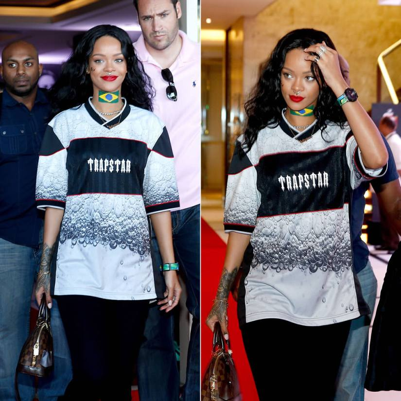 Rihanna in Trapstar Evolution football shirt, Meadowlark small thorn septum ring, Louis Vuitton Alma BB handbag, Hublot Atelier Brazil World Cup watch, Lynn Ban coil ring