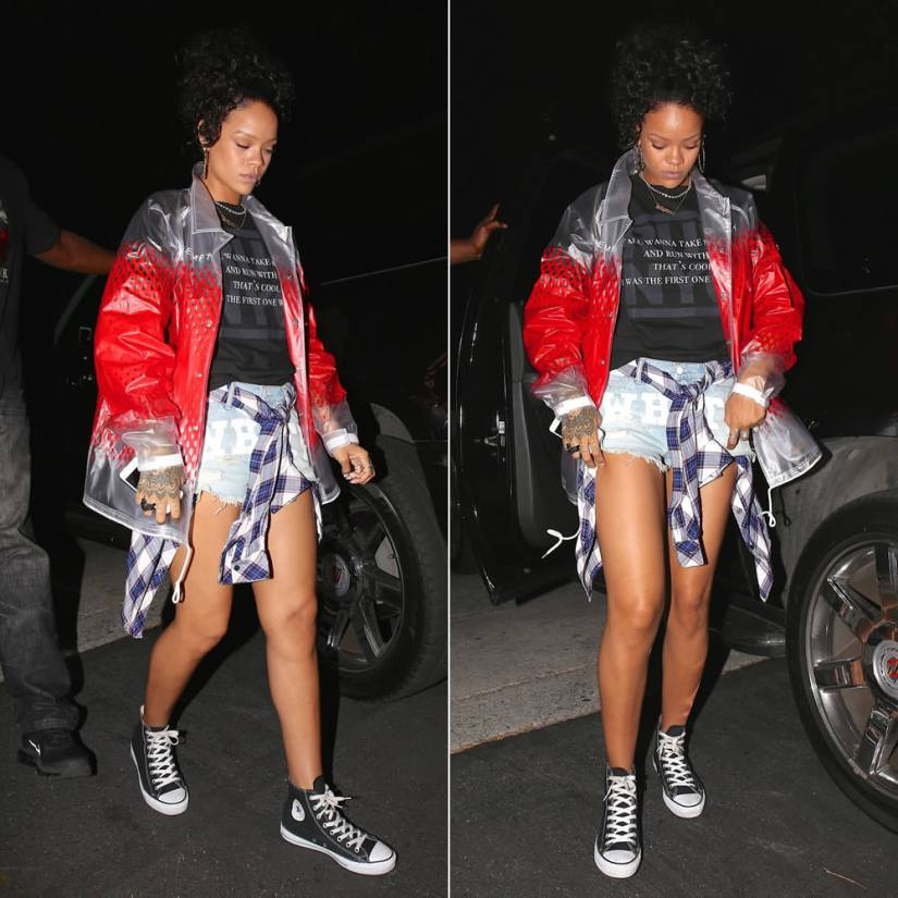 Rihanna wearing Cav Empt red pvc jacket, Jay Z imaginary player tee, Off-White c/o Virgil Abloh distressed denim shorts, Converse Chuck Taylor All Star high top sneakers, Gogo Philip twisted gold earrings, Mala by Patty Rodriguez Where you from? Bridgetown necklace, Lynn Ban coil ring and skull ring