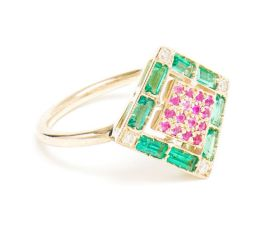 Sabine G emerald and pink sapphire ring