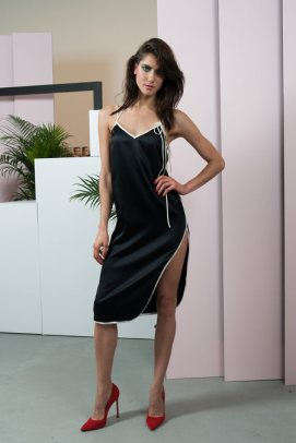 Adam Selman black slip dress as seen on Rihanna