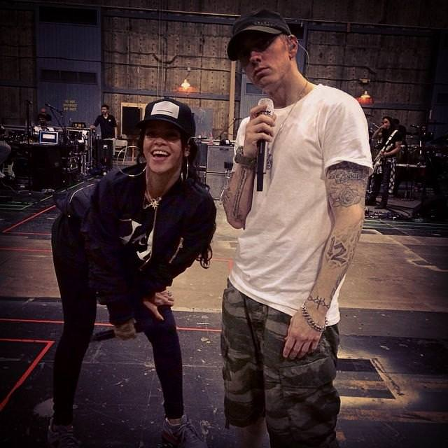 Rihanna and Eminem at final rehearsals for the Monster Tour