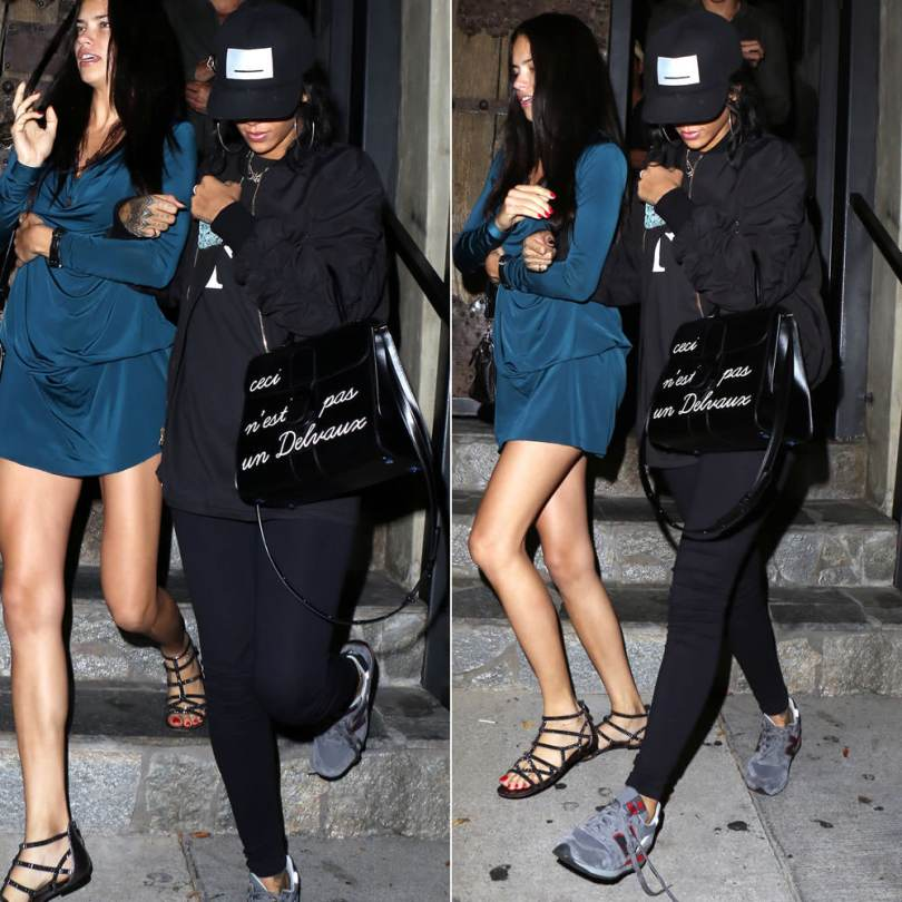 Rihanna wearing Pigalle snapback cap, Fear of God bomber jacket, New Balance 996 grey sneakers, Jacquie Aiche gemstone starburst necklace, Jacquie Aiche assorted labradorite necklace, Lynn Ban coil ring, Tealer weed bud iphone case, Delvaux Ceci nest pas un delvaux brillant handbag
