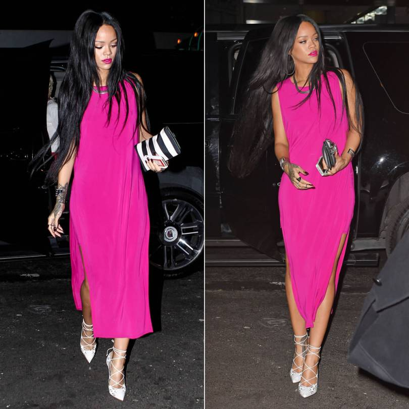 Rihanna in Helmut Lang pink slit dress, Christian Louboutin white Impera pumps, Balmain striped clutch, Lynn Ban coil cuff and chevron ring, Fallon herringbone necklace