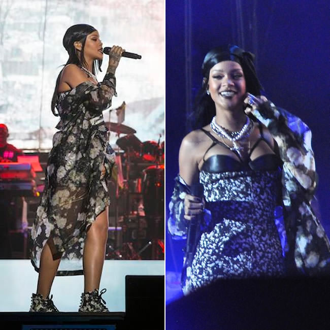 Rihanna at Lollapalooza in Givenchy Spring 2015 leather bra, floral print mini dress, floral coat and pearl-embellished boots, Fallon custom pearl cross necklace