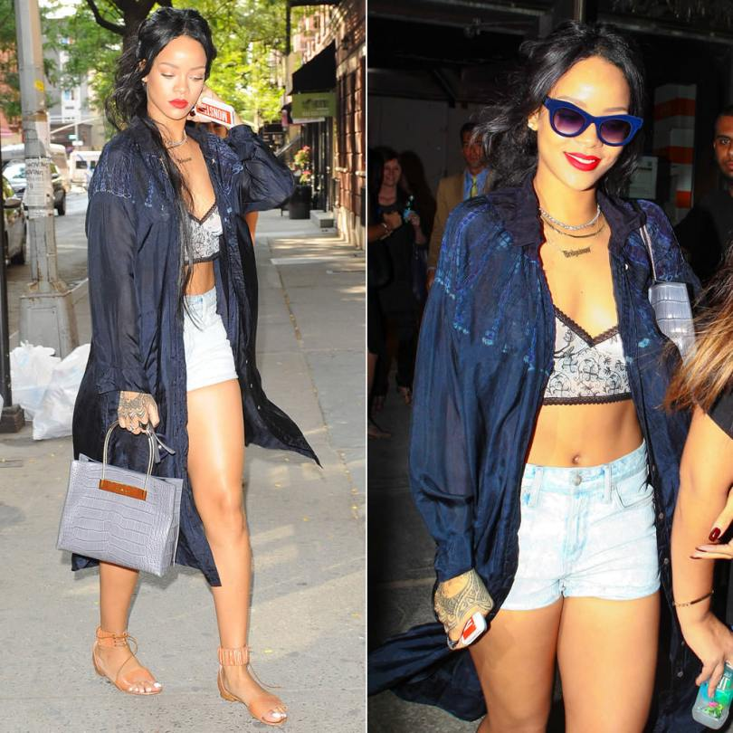 Rihanna in Raquel Allegra blue tie dye shirt dress, Meadham Kirchhoff floral printed bralet, Italia Independent 0096V blue velvet sunglasses, Manolo Blahnik Kevo snakeskin sandals in cognac, Balenciaga crocodile tote with palladium cable straps, Lynn Ban vice rings and chevron ring